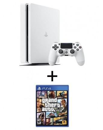 Sony Playstation 4 Slim 500GB Glacier White + GTA V NAUDOTAS